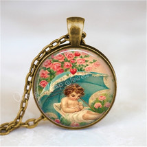 VALENTINE Necklace, Vintage Valentine, Cupid Necklace, Cupid, Pink Roses... - $12.95