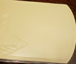 "Set of 2 PVC NON CLEAR Oval Placemats (18""x12"") ENGRAVED LEAVES ON CREAM... - $9.89"