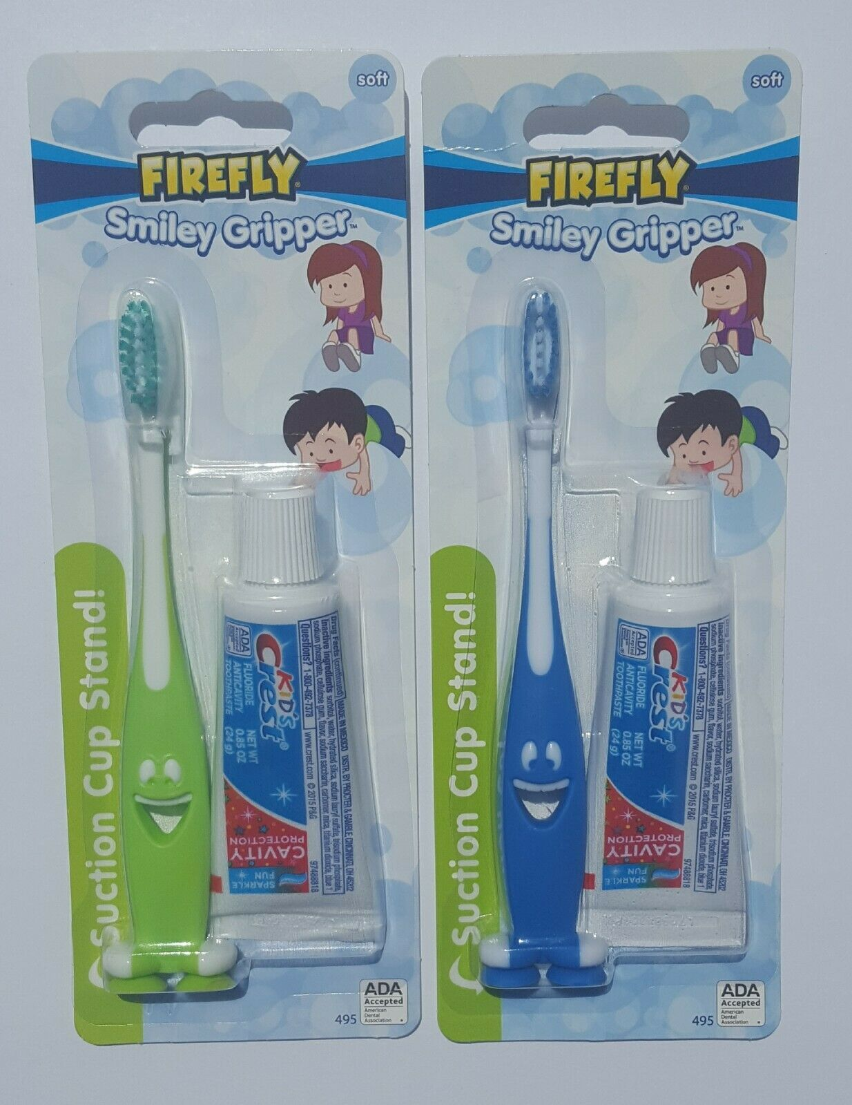 Firefly Smiley Gripper soft Toothbrush Kids Crest Suction Cup Stand green & blue - $6.99