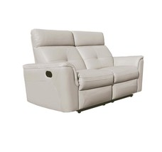 ESF 8501 Contemporary White Italian Leather Recliner Loveseat Modern