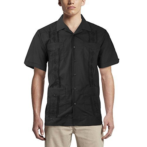 Alberto Cardinali Men's Guayabera Short Sleeve Cuban Casual Dress Shirt (M, Blac