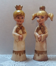 Vintage Ceramic Christmas Caroler Candle Holders // Boy & Girl Taper Holders - $14.00