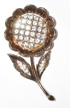 Crown Trifari Pat Pend Clear Rhinestone Sunflower Brooch Vintage 1950 - $98.09