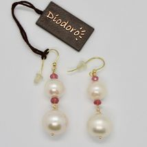 Yellow Gold Earrings 18K 750 Pearls Water Dolce Tourmaline Pink Made in Italy image 3