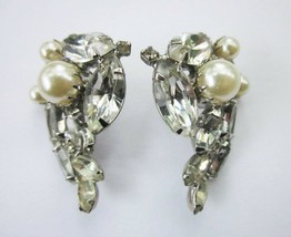 VINTAGE MARQUISE CRYSTAL and FAUX PEARL STUD CLUSTER EARRINGS Needs Back... - $5.70