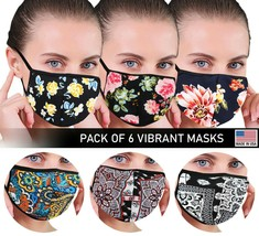 Women's Floral Reusable Face Cover Cloth Protection Mask Handmade USA Lot of 6