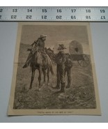 Home Treasure Newspaper Clipping Western Sketch Covered Wagon Rifle Hors... - $9.49