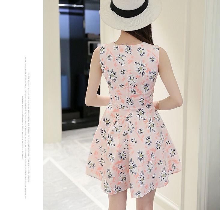 Chic 2017 Korean Fashion Sleeveless Floral Slim Leisure Sweet Summer Vest Dress