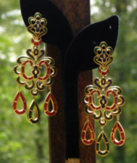 Rare Vintage Crown Trifari Triple Dangle L'Orient Earrings Red blue Gree... - $495.00