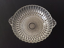 "Round Pressed Glass 2-handled Bowl, 8 1/4"" - $10.00"