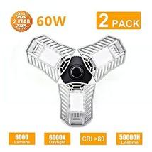 Bikuer 2 Pack 60W LED Garage Lights Blubs, 6000Lumens CRI80 6000K Adjustable Tri