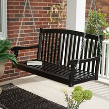 Traditional Country Black Hardwood Slatted Patio Porch Swing 4 Foot or 5... - $199.49