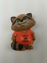 Hallmark Holiday Halloween Pin Raccoon Trick or Treat Shirt orange - $9.65