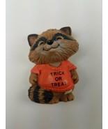 Hallmark Holiday Halloween Pin Raccoon Trick or Treat Shirt orange - $9.65