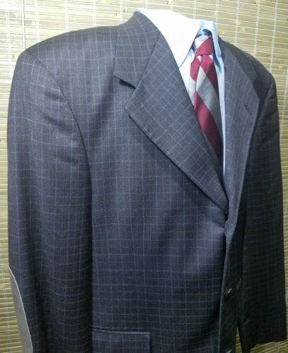 Tom James Excl. Tailored Mens Sport coat Windowpane Wool blend Elbow patch 44R