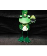 "Formal Dressed Frog Ceramic Holding Pot Of Gold 5"" St. Patrick's Day - $10.84"