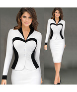Women's Business Dresses Work Wear Patchwork Bodycon Pencil Casual Offic... - $34.99