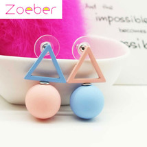 Zoeber Fashion Color Triangle Geometry Stud Earrings Women Ear Cuff Circular Jew - $7.99