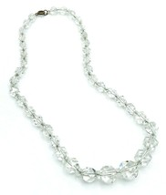 Vintage Graduated Multi Faceted Clear Crystal Bead Necklace - $41.58
