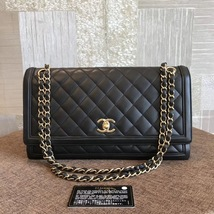 100% Authentic Chanel BLACK QUILTED LAMBSKIN LARGE FLAP BAG GHW image 1