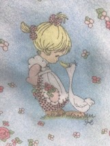 Precious Moments Baby Blanket Girl With Goose  Handmade - $46.55