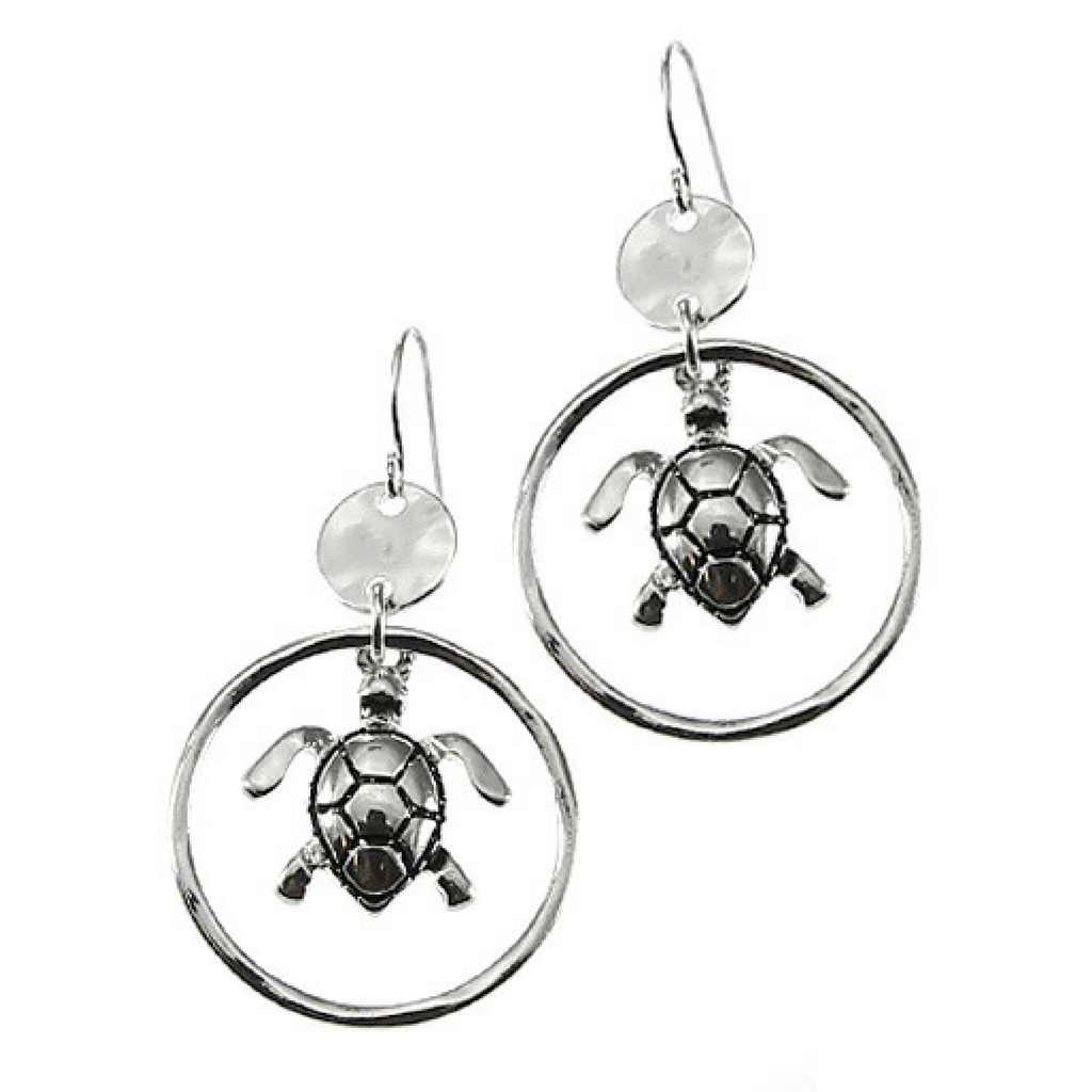 Primary image for Beach Silver Sea Turtle Circle Hoop Dangle Earrings For Women Fashion Jewelry