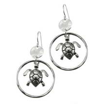 Beach Silver Sea Turtle Circle Hoop Dangle Earrings For Women Fashion Je... - $14.35