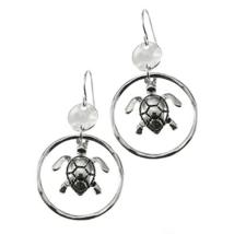 Beach Silver Sea Turtle Circle Hoop Dangle Earrings For Women Fashion Jewelry - $14.35