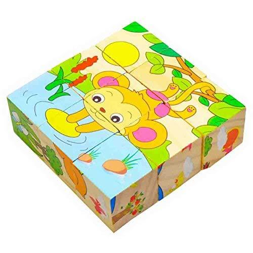 PANDA SUPERSTORE 9 Pcs Animal Puzzle Blocks,Simple Wood Building Blocks for Infa