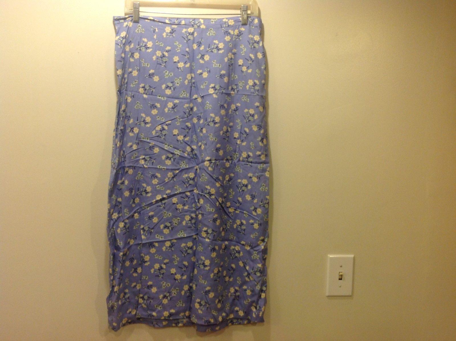Christopher & Banks Floral Print Soft Blue Long Skirt Sz 10