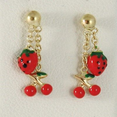 EARRINGS BABY GIRL YELLOW GOLD 750 18K HANGING,STRAWBERRIES CHERRIES