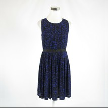 Black blue geometric ANN TAYLOR LOFT sleeveless A-line dress 4 - $22.49
