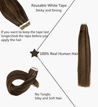 Hetto Tape in Human Hair Extensions 22 inches Seamless Glue in Hair Extensions 2 image 3