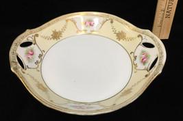 "Nippon M Bowl Plate Decorative Hand Painted Porcelain Handles Gold Vintage 7"" - $12.86"