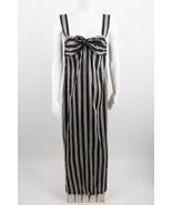 Massimo Dutti Women's Maxi Dress US 4 EU 36 Navy Blue Tan Striped Linen Knot NWT - $98.01