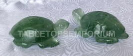 Pair of Green Fluorite Turtle Idol Collectible Good Luck Sculpture Art H... - £77.94 GBP