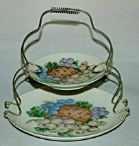 Two Tiered China Serving Dish Fruit Design Japan Vintage with Box - $9.99