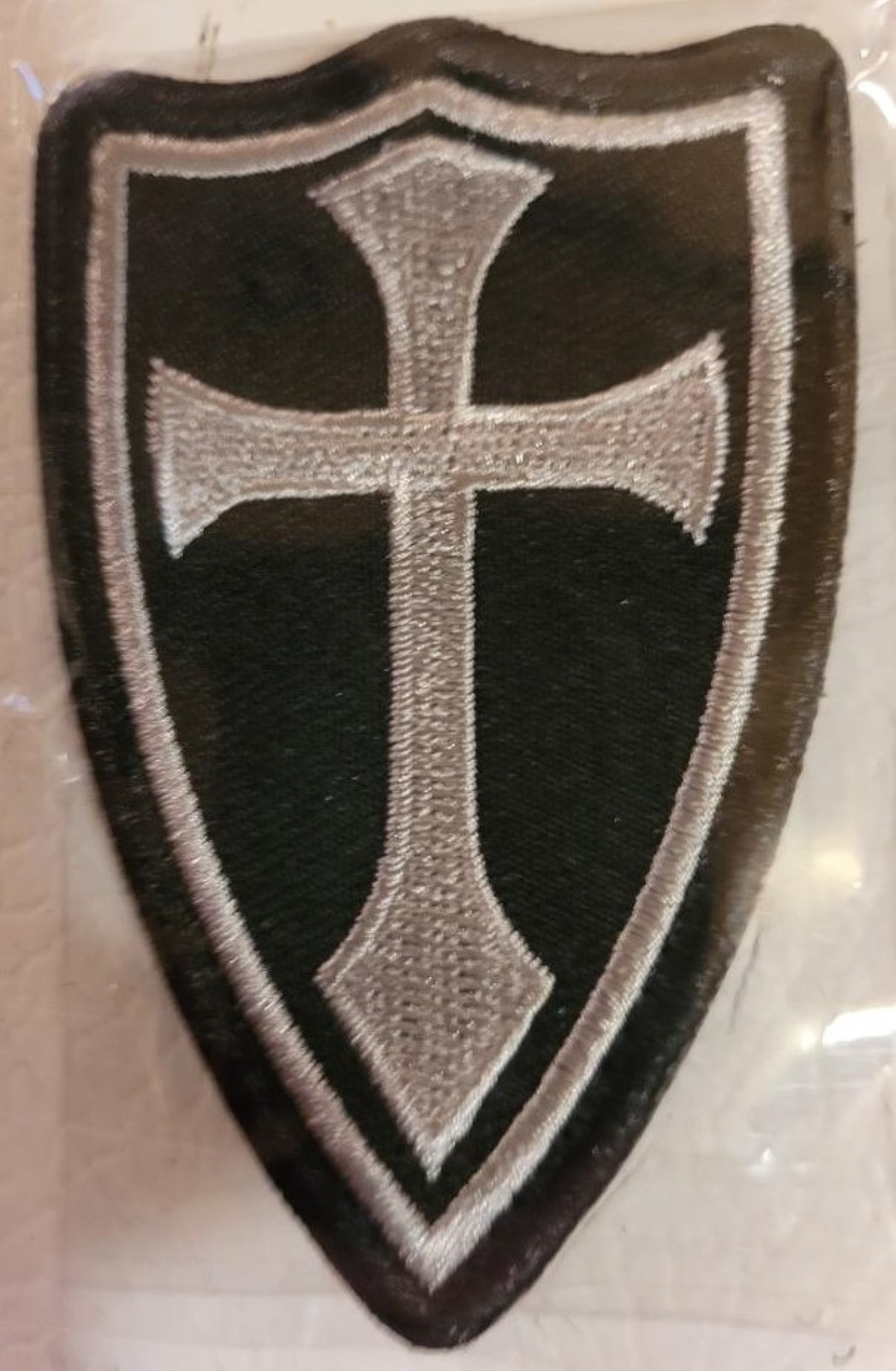 Knight's Templar White Cross on Shield Patch
