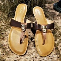 MICHAEL KORS Hamilton Brown Leather Thong Sandals Gold Padlock Charm Mk ... - $59.95