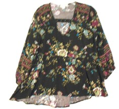 Miami Medium Black Green Pink Floral V Neck Rayon  3/4 Sleeve Over Blous... - $18.54