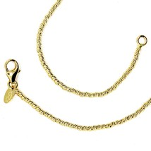 """18K YELLOW GOLD CHAIN FINELY WORKED SPHERES 1.5 MM DIAMOND CUT BALLS, 16"""", 40 CM image 1"""