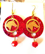 horse earrings red sequins glass drop dangles animal charms jewelry hand... - $2.40