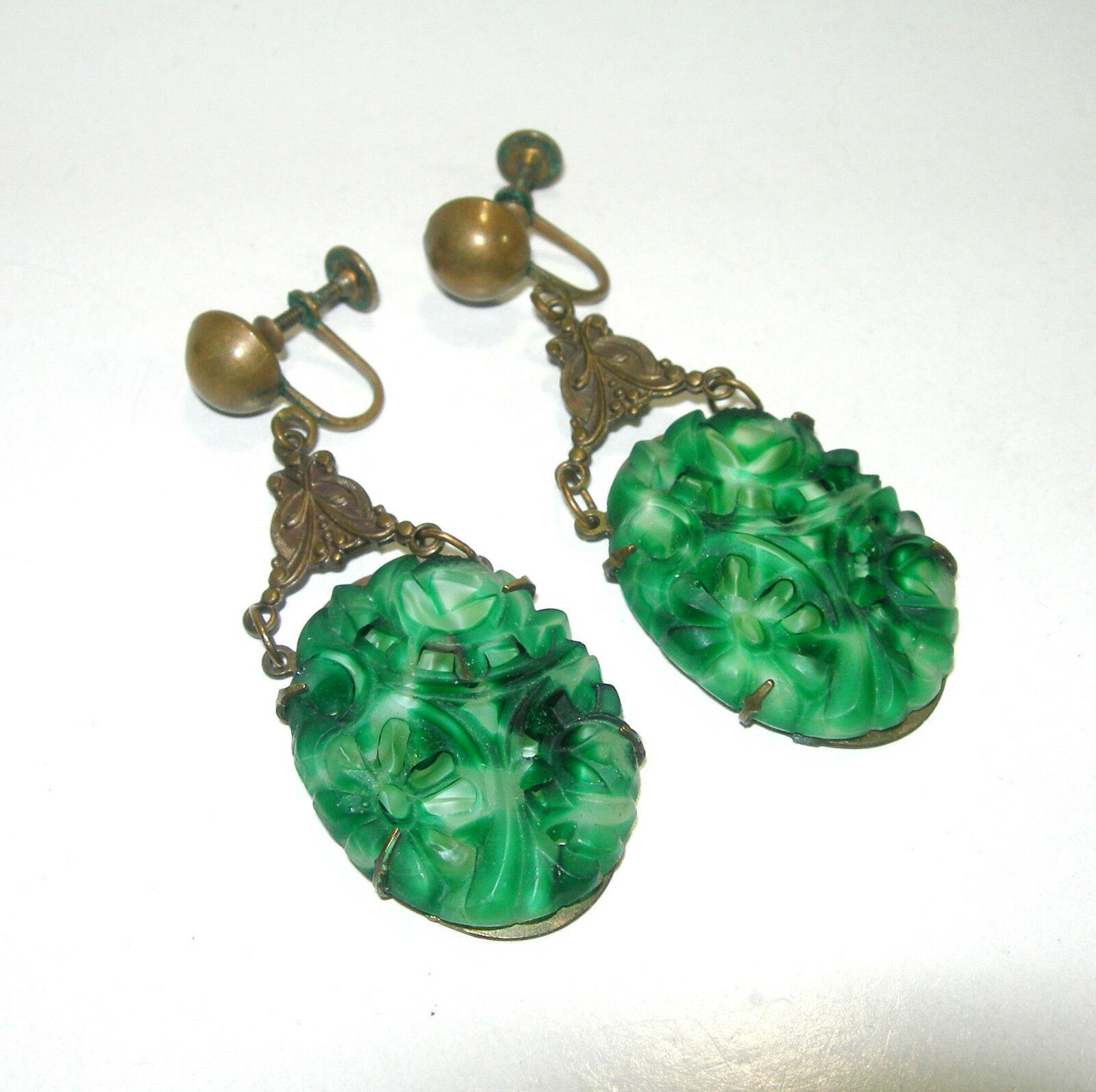 VINTAGE LARGE SIGNED PIERCED CARVED FAKE JADE GREEN GLASS BARCLAY EARRINGS