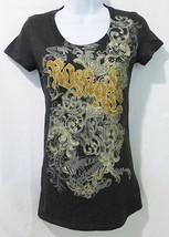 Women t-shirt short sleeve with cross print gray S-L - $11.99