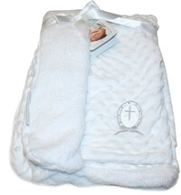 Blankets and Beyond Christening Gift Blanket, White with Silver Cross Ap... - $25.64