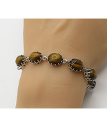 925 Sterling Silver - Vintage Cabochon Cut Tigers Eye Linked Bracelet - ... - $70.47