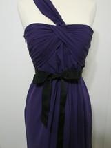 Vera Wang Gown White Purple Cross One Shoulder Ruched Black Ribbon Trim ... - $269.99