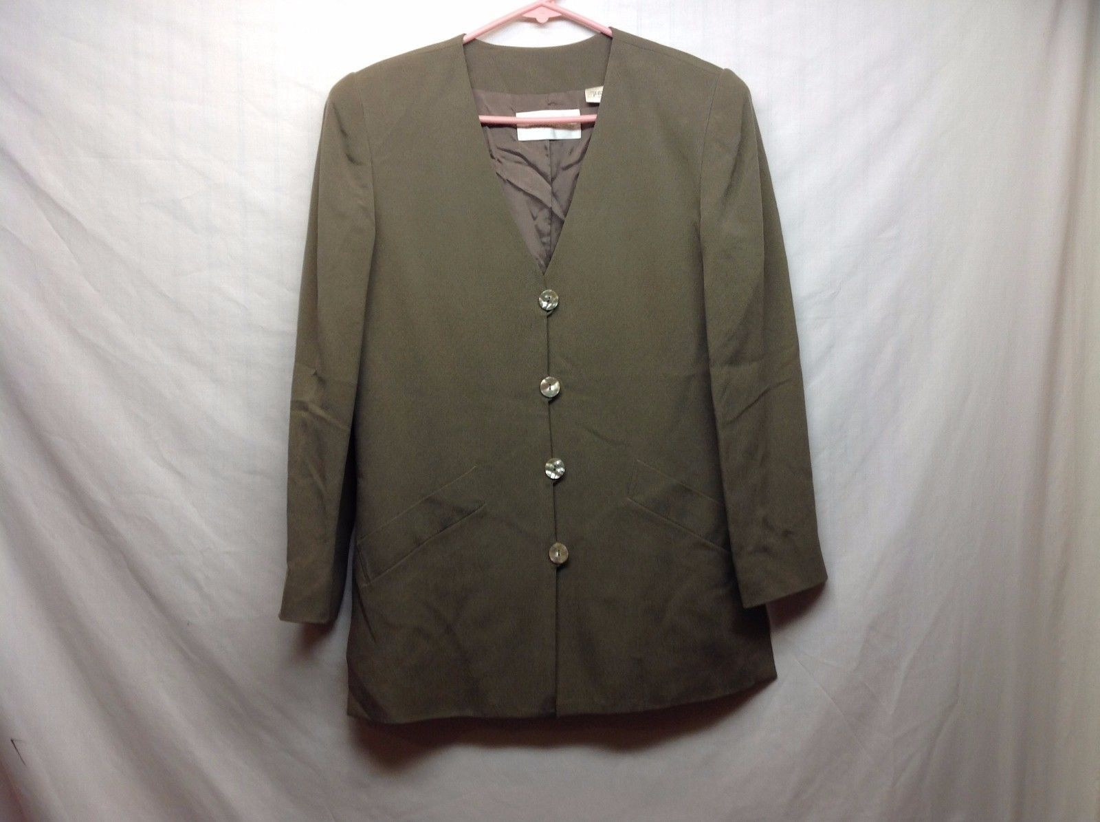 Dana Buchman Womens Button Up Brown Silk Blazer Sz 2