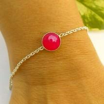 Pink Stones, Pink Chalcedony Round Bezel Set Bracelets 925 Silver Pink B... - $34.00