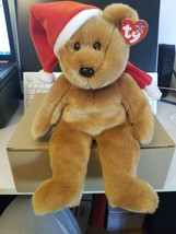 Ty Beanie Buddy - 1997 Holiday TEDDY- Mwm Ts Stuffed Bear Brown 14 Inch - $6.73
